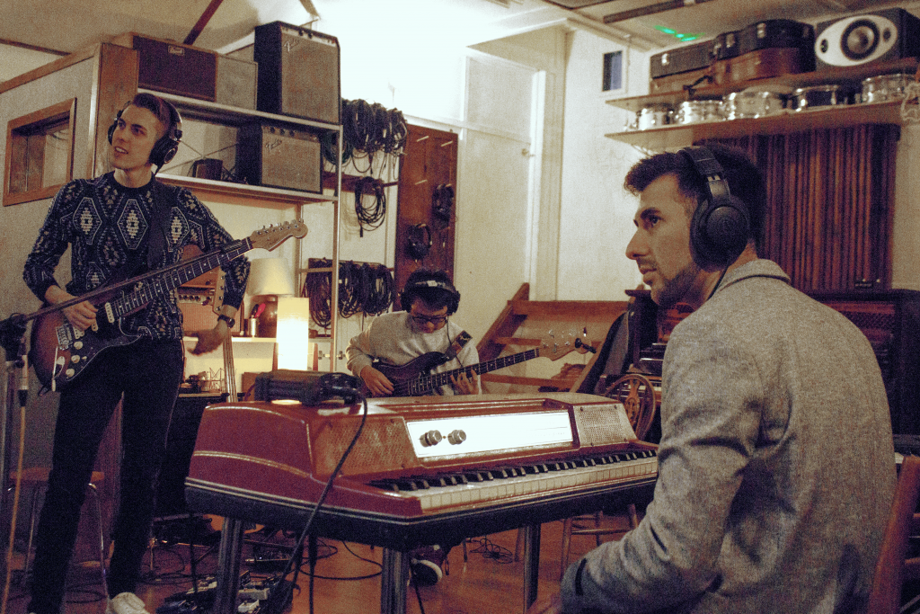 Crouton Cannon members Alex Marshall, Jonathan Cheung and Daniel Marks recording at Soup Studios